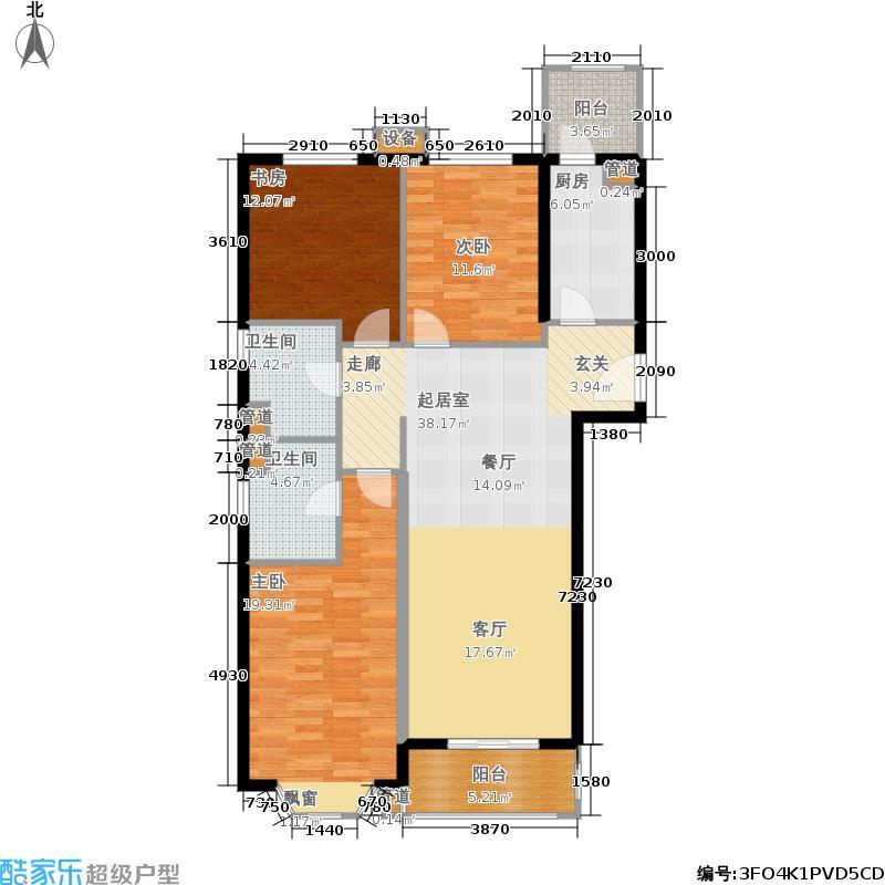 首创伊林郡117.00㎡2期户型3室2厅