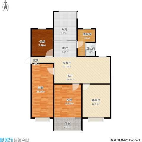东方明珠城3室1厅1卫1厨131.00㎡户型图