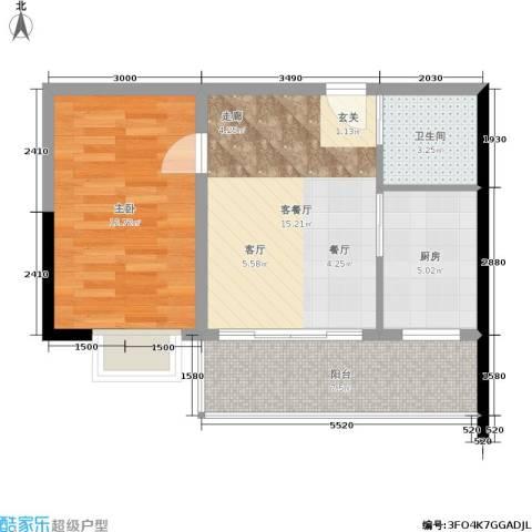 金洲城1室1厅1卫1厨49.75㎡户型图