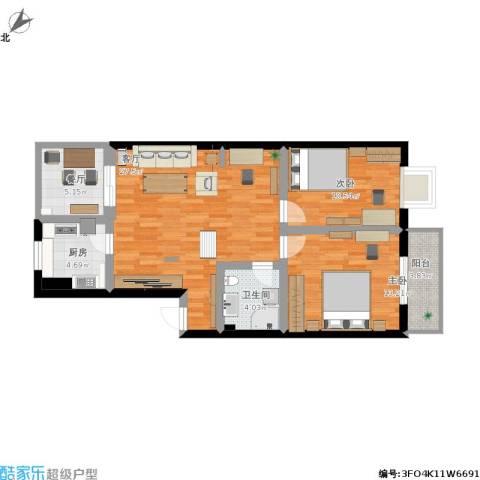 满园里2室2厅1卫1厨103.00㎡户型图