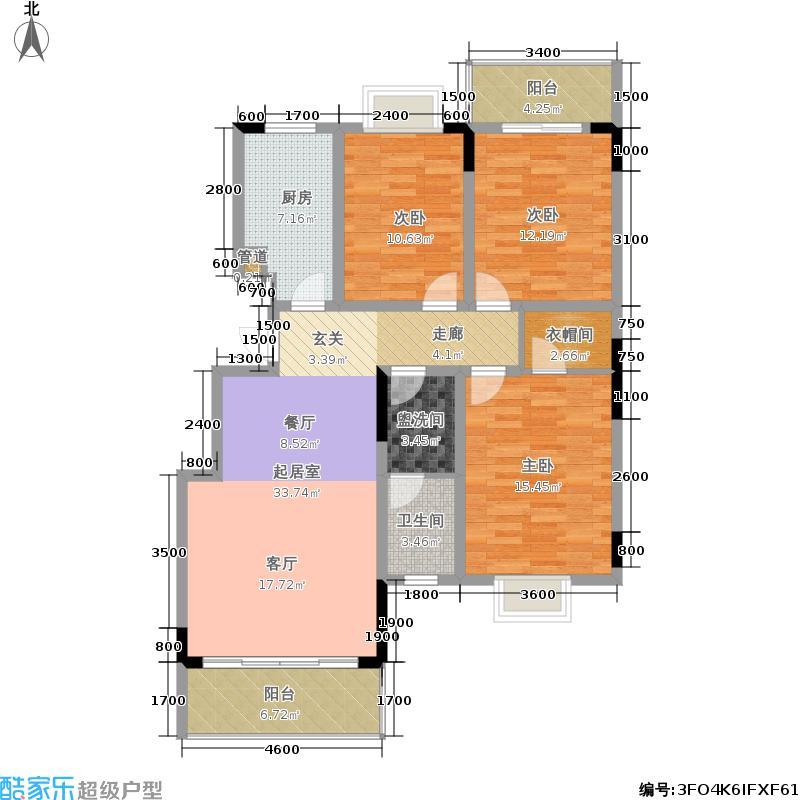 宫园B户型-三房二厅一卫户型