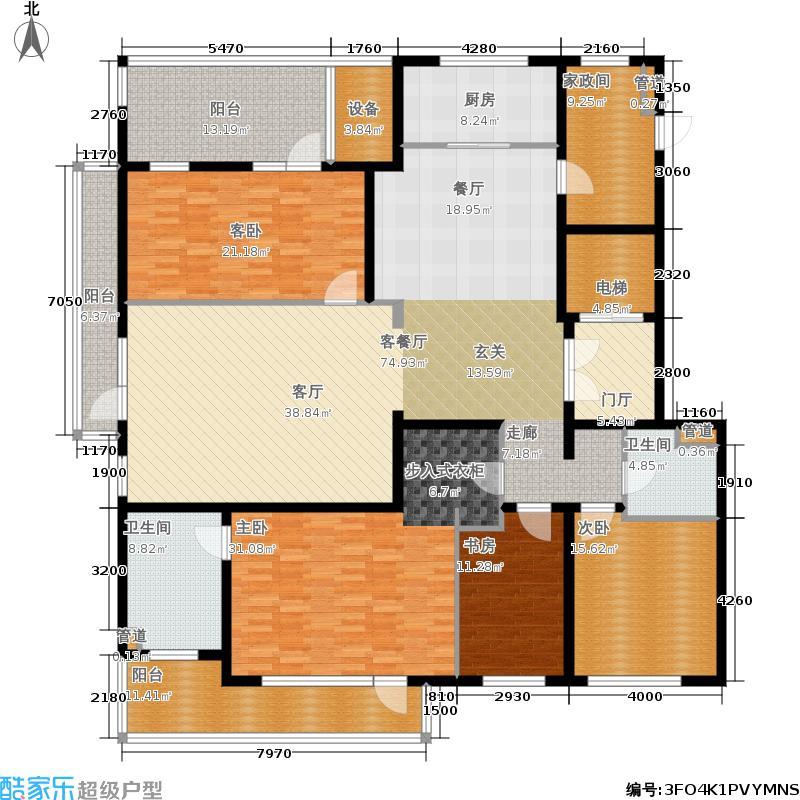 五矿万科·如园260.00㎡北区6、7、11号楼B顶层户型5室2厅