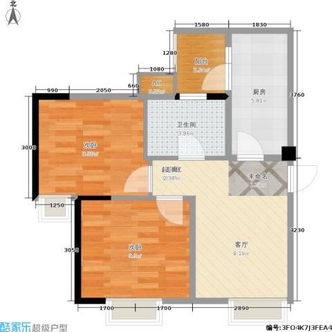 春天印象2室0厅1卫1厨61.00㎡户型图