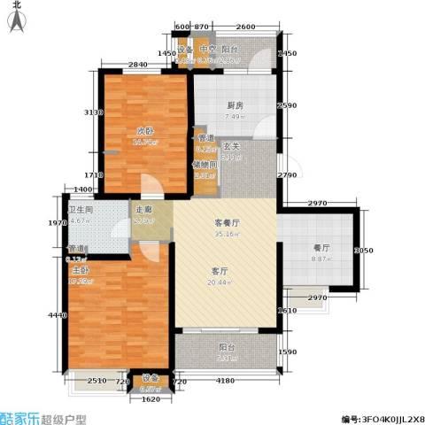 东渡青筑2室1厅1卫1厨106.00㎡户型图