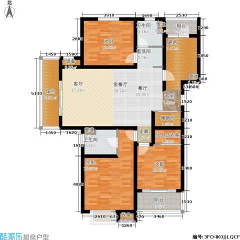 东渡青筑3室1厅2卫1厨126.00㎡户型图