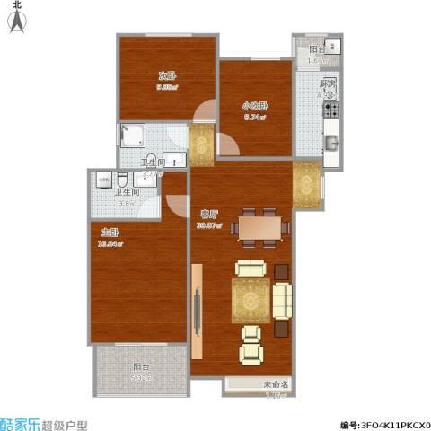 齐鲁时代花园2室1厅2卫1厨116.00㎡户型图