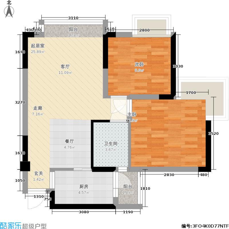 YOHO墨香70.00㎡一期2号楼标准层B户型