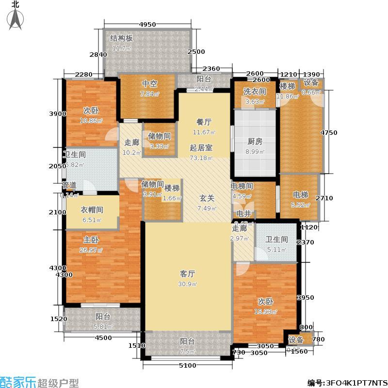华润公元九里303.00㎡D顶层跃层(首层)户型4室3厅