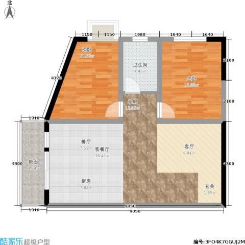 金洲城2室1厅1卫0厨79.49㎡户型图