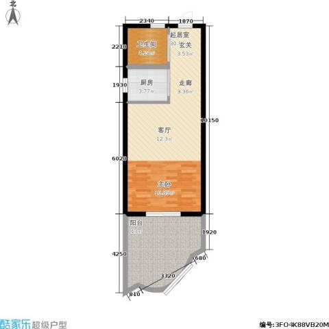 中州国际酒店1卫1厨57.50㎡户型图