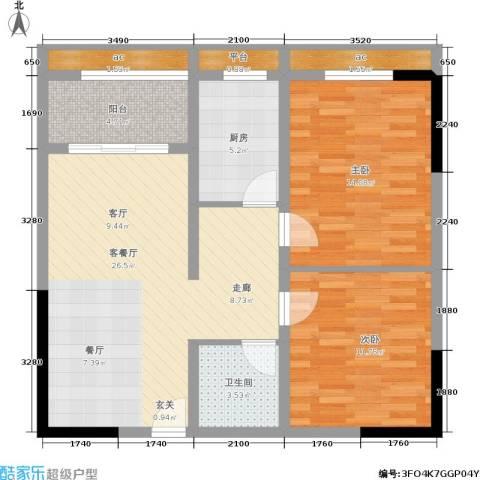 金洲城2室1厅1卫1厨80.94㎡户型图