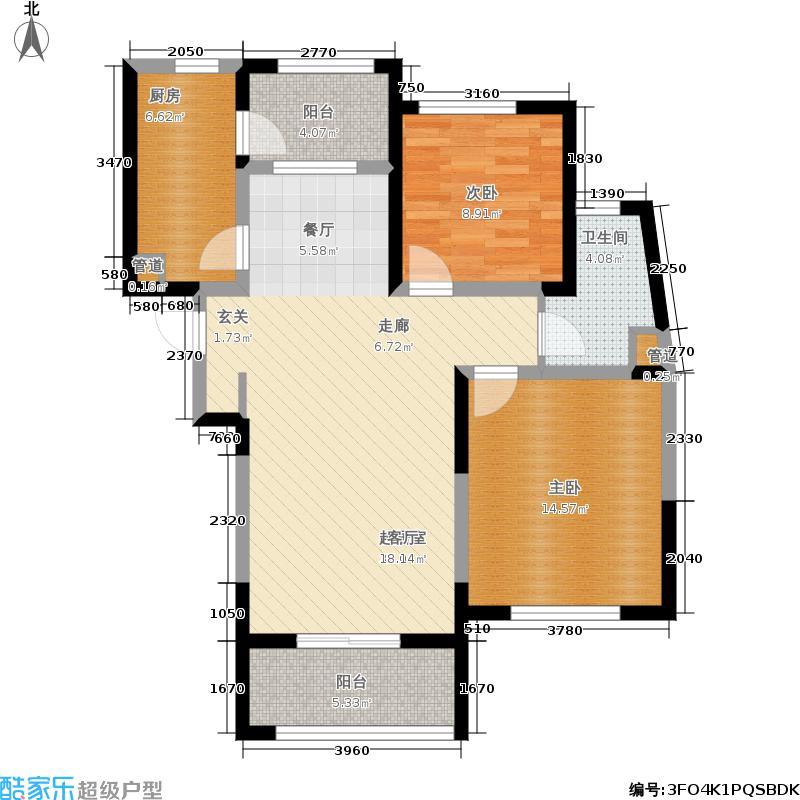 西郊半岛名苑88.00㎡Ge-3户型2室2厅