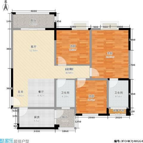 春天印象3室0厅2卫1厨114.00㎡户型图