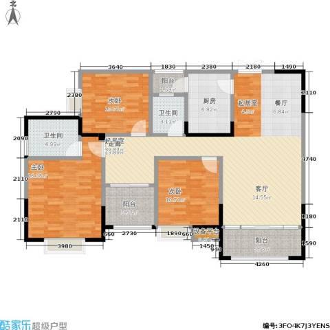 春天印象3室0厅2卫1厨133.00㎡户型图