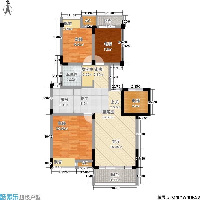 紫元阳光水榭101.00㎡一期75#楼标准层A户型