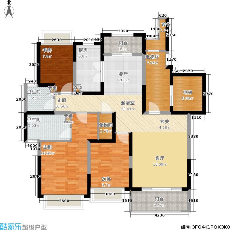 仁恒东郊花园134.87㎡E2户型3室2厅