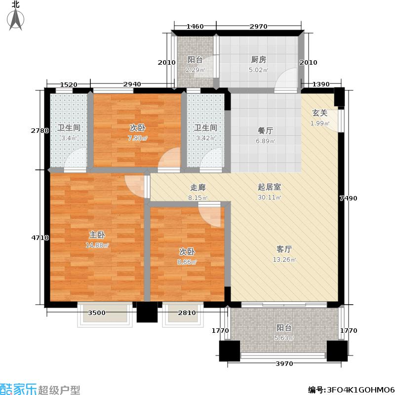中兴名志铂金湾109.00㎡中兴名志・铂金湾二期3、5幢电梯房户型