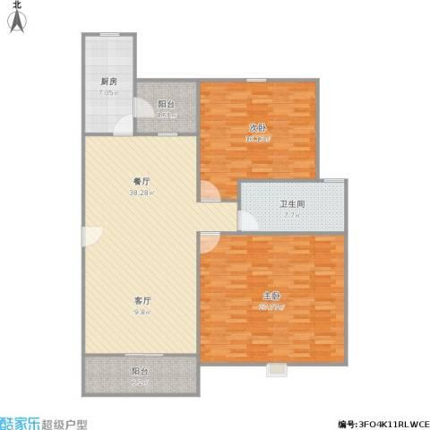 五洲云景花苑2室1厅1卫1厨146.00㎡户型图