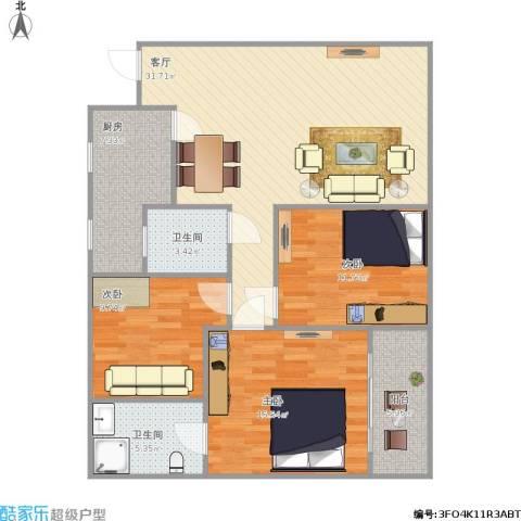 华兴名城3室1厅2卫1厨121.00㎡户型图