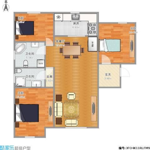 华远海蓝城3室1厅2卫1厨111.00㎡户型图