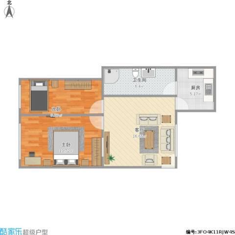 水荫路大院2室1厅1卫1厨55.17㎡户型图