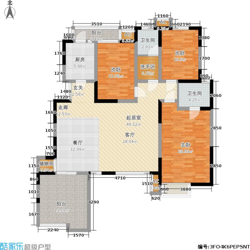金泰丝路花城(四期)143.00㎡C户型三室两厅两卫户型3室2厅2卫