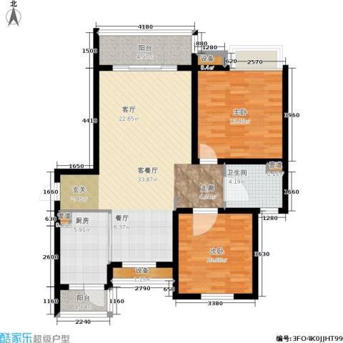 东渡青筑2室1厅1卫1厨90.00㎡户型图