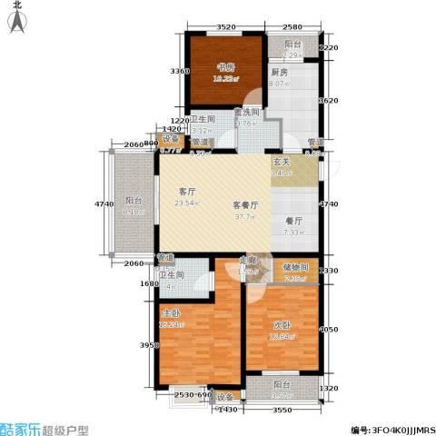 东渡青筑3室1厅2卫1厨128.00㎡户型图
