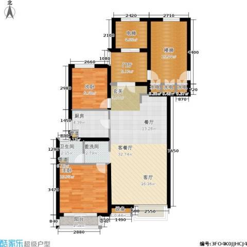 东渡青筑2室1厅1卫1厨93.00㎡户型图