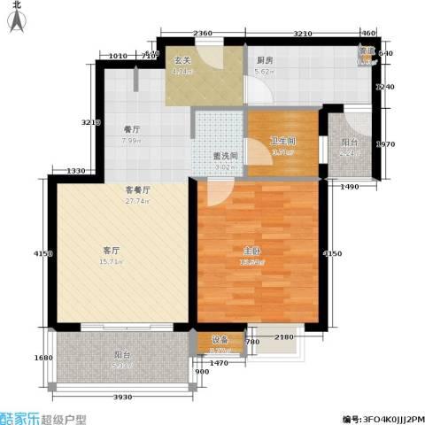 东渡青筑1室1厅1卫1厨68.00㎡户型图