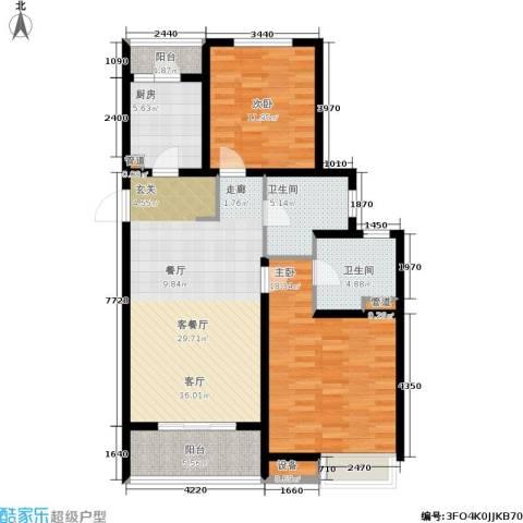 东渡青筑2室1厅2卫1厨97.00㎡户型图