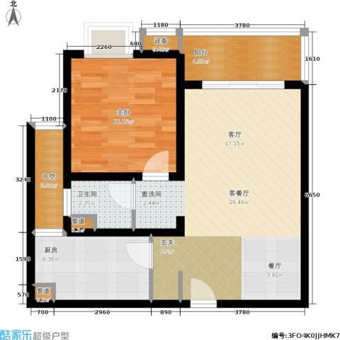 东渡青筑1室1厅1卫1厨65.00㎡户型图