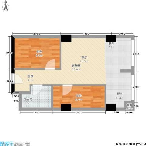 奥园国际城2室0厅1卫0厨68.00㎡户型图