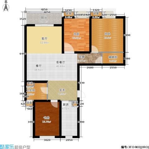东渡青筑3室1厅1卫1厨112.00㎡户型图