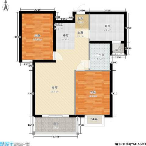 富春山居2室0厅1卫1厨88.00㎡户型图