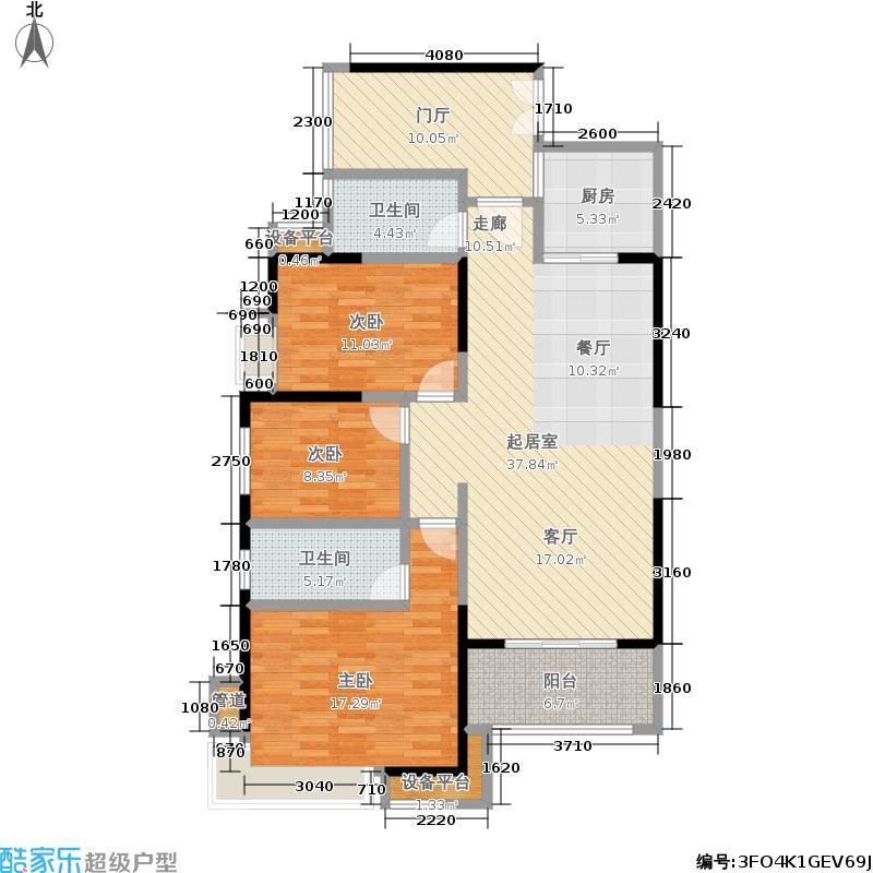盛荟花园130.29㎡2栋1单元2-19层D+E3室户型