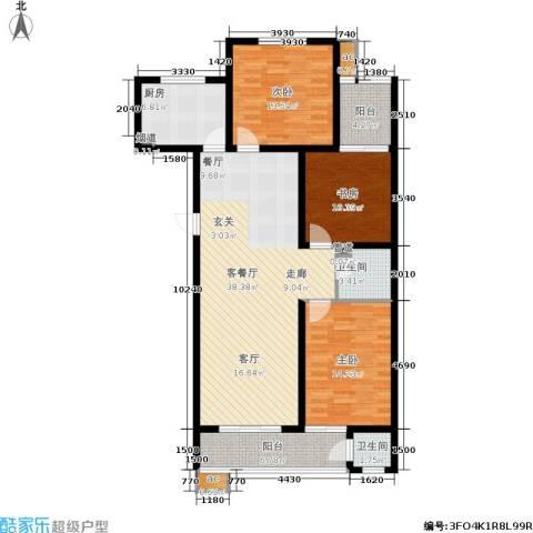 滨河雅园3室1厅2卫1厨145.00㎡户型图