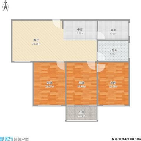宁工二村3室1厅1卫1厨115.00㎡户型图