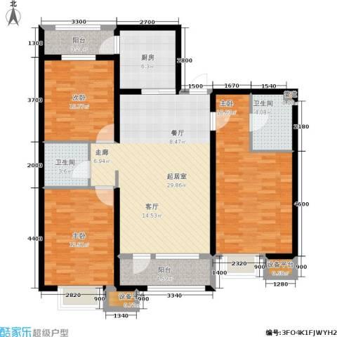 奥园国际城3室0厅2卫1厨125.00㎡户型图