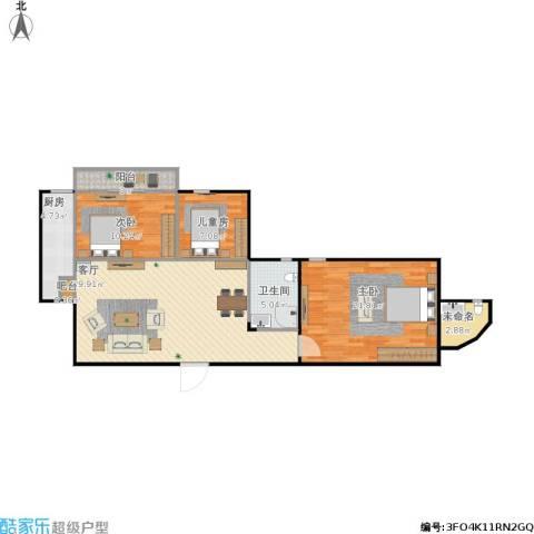 衣锦华庭怡庭居3室1厅2卫1厨114.00㎡户型图