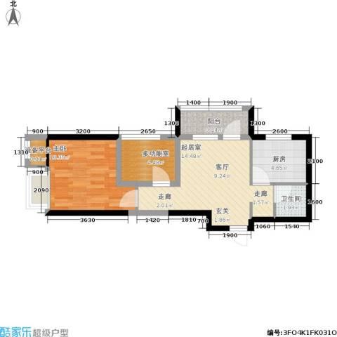 奥园国际城1室0厅1卫1厨50.00㎡户型图