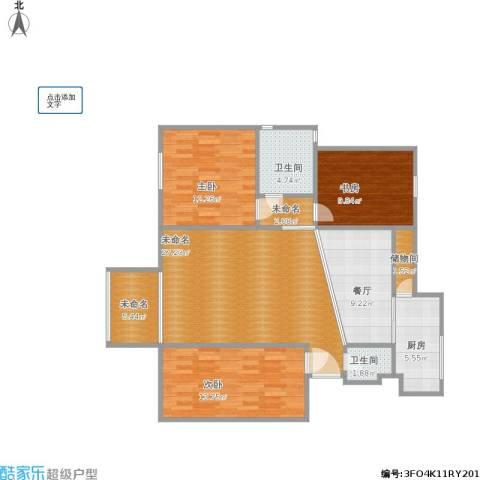 水木天成逸树园3室1厅2卫1厨128.00㎡户型图