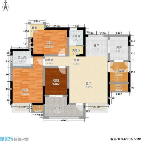 九洲上尚城3室0厅2卫1厨113.00㎡户型图