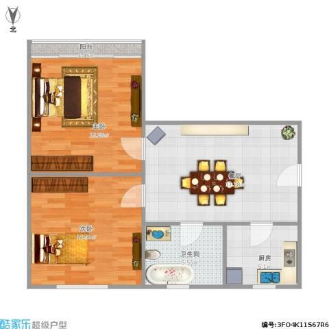 清涧二街坊2室1厅1卫1厨80.00㎡户型图