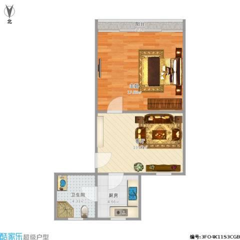 清涧二街坊1室1厅1卫1厨57.00㎡户型图