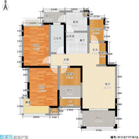 北江锦城2室0厅1卫1厨102.00㎡户型图