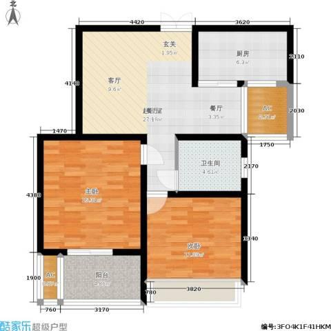 水岸豪庭东苑2室0厅1卫1厨99.00㎡户型图
