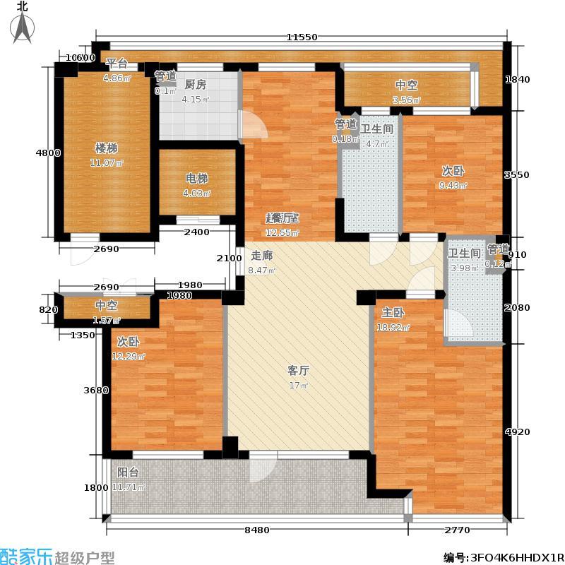 绿城百合花园140.00㎡D9号楼 三室两厅两卫户型3室2厅2卫