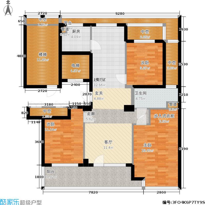 绿城百合花园125.00㎡D6号楼 三室两厅一卫户型3室2厅1卫