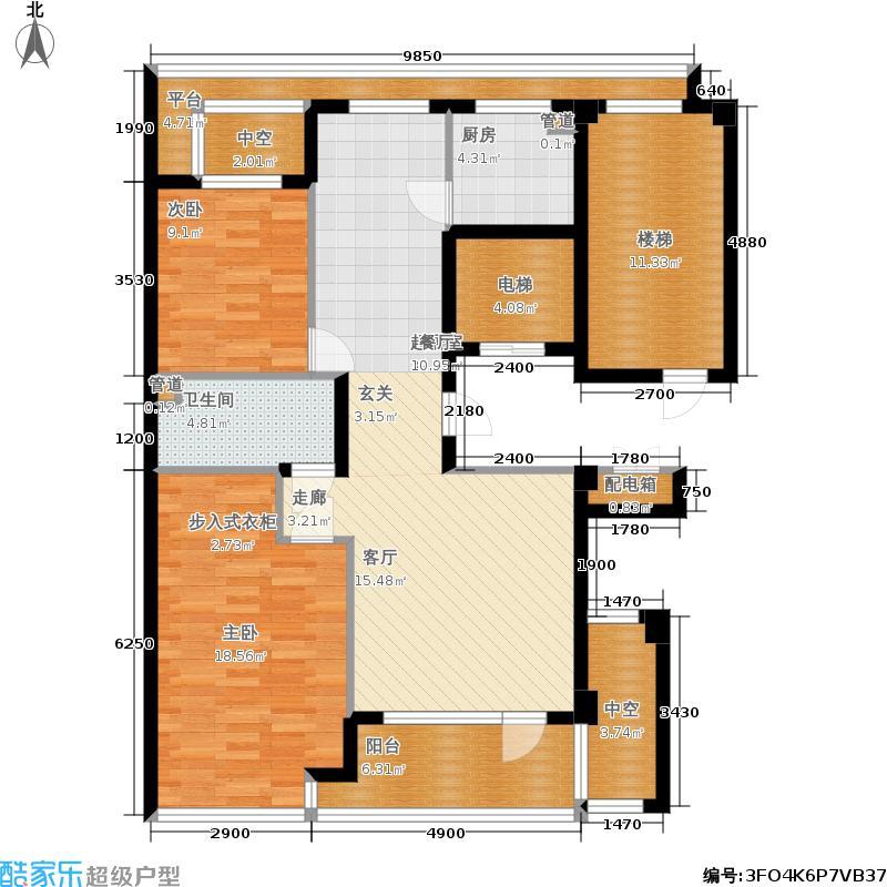 绿城百合花园100.00㎡D5号楼 两室两厅一卫户型2室2厅1卫